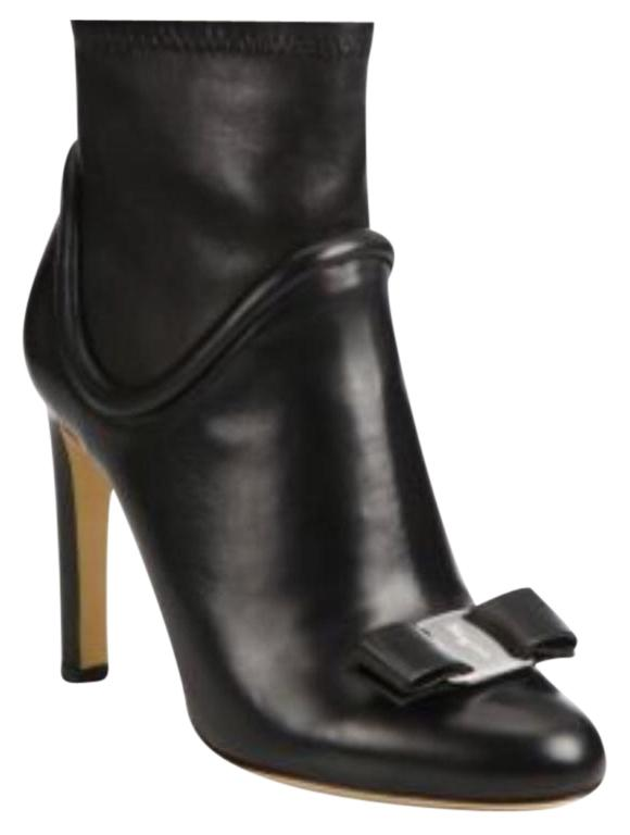 Salvatore Ferragamo Black Fimeny Vara Stretch Leather Boots/Booties Size US 8 Regular (M, B)