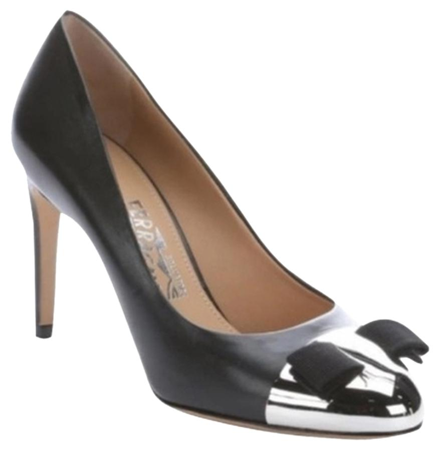 Salvatore Ferragamo Black Silver Nina Metal Cap Toe Leather Pumps Size US 7.5 Wide (C, D)