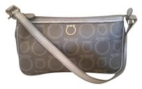 Salvatore Ferragamo Monogram Leather Small Metallic Baguette