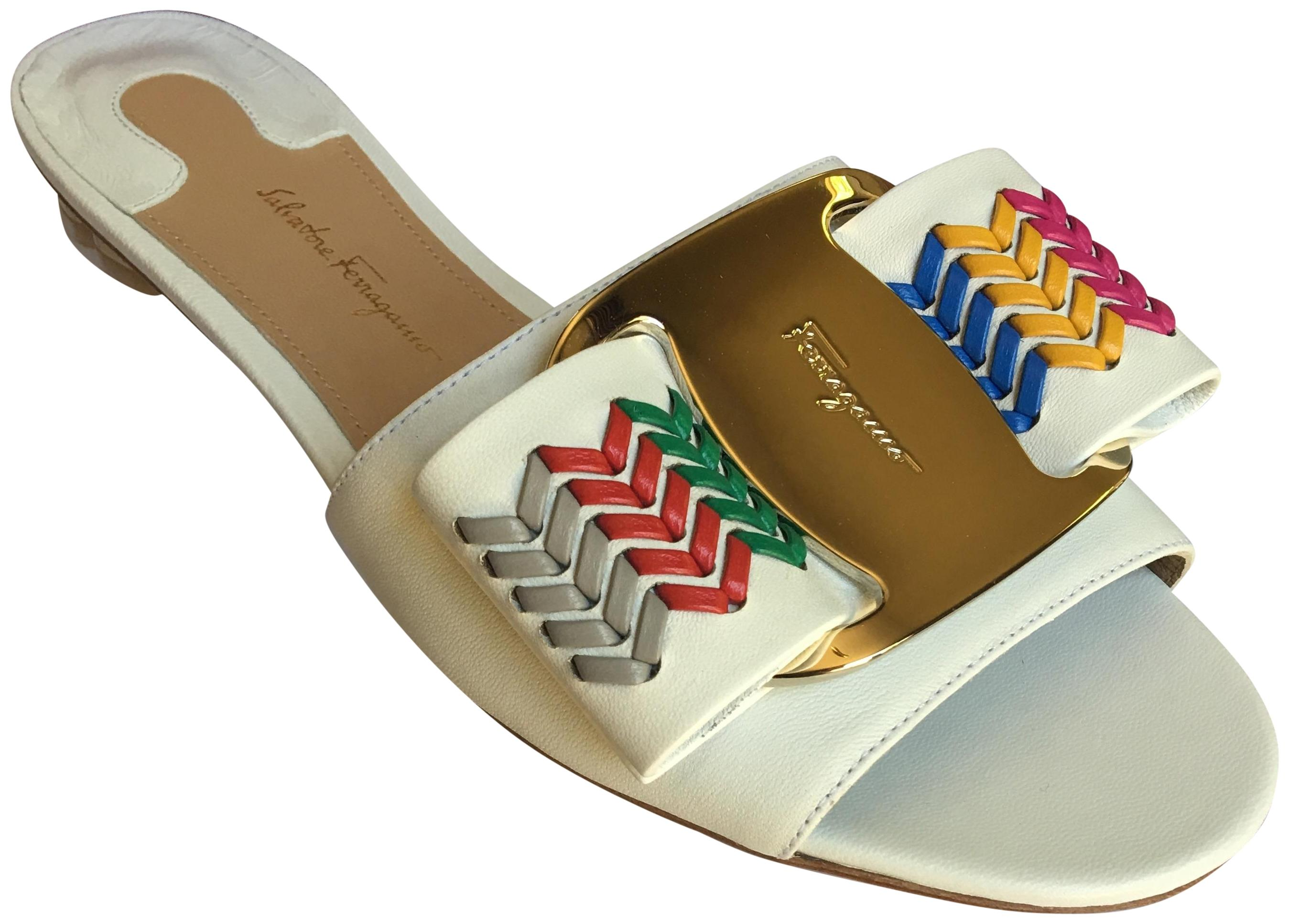 aa1b2190e Salvatore Ferragamo Ferragamo Ferragamo New Bianco Women s Woven Leather  Tolve Bow Slide Sandals Flats Size US