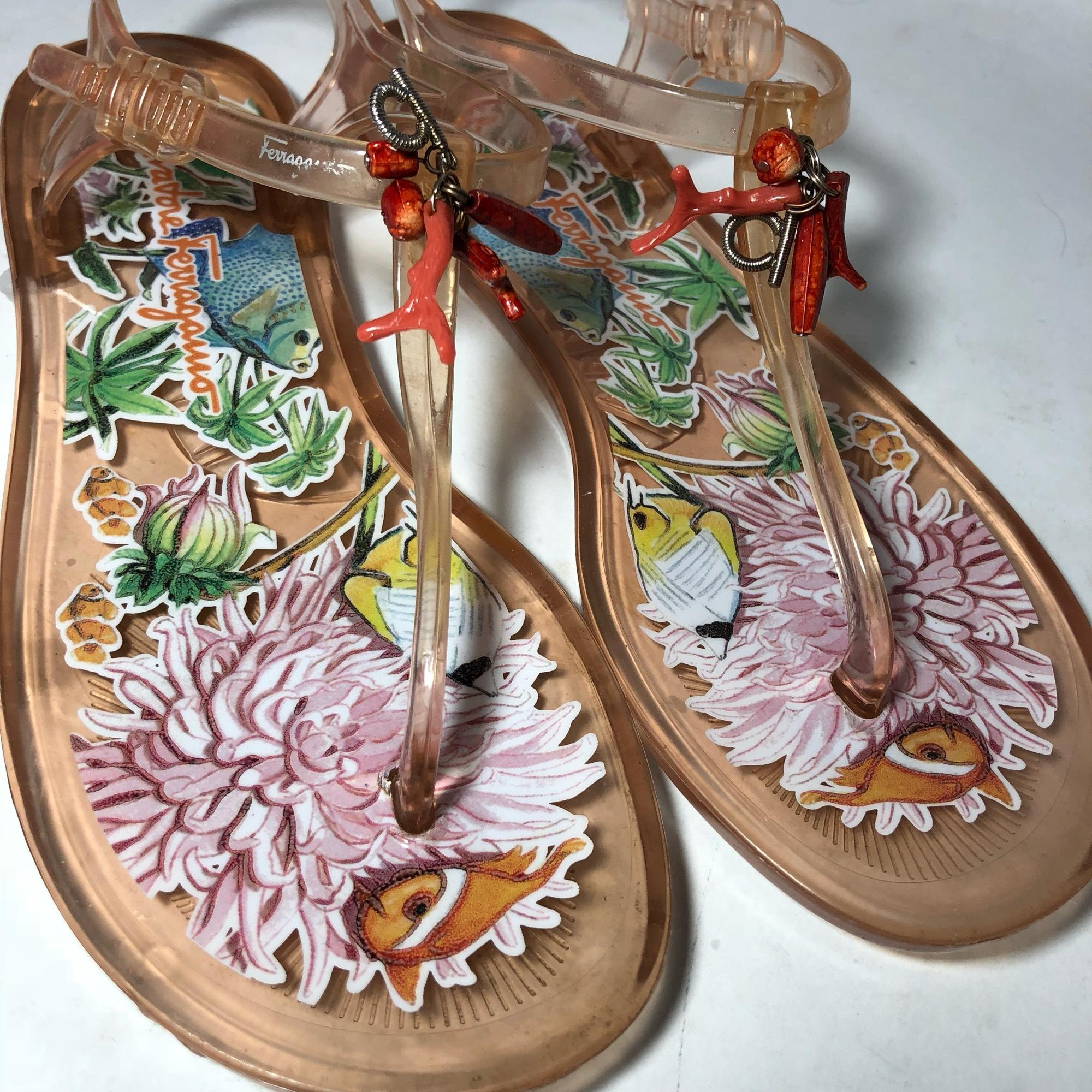 85cb13f0c5ec ... Salvatore Ferragamo Orange Jelly Ocean Ocean Ocean Beach Thongs Sandals  Size US 6.5 Regular (M ...