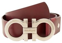Salvatore Ferragamo Salvatore Ferragamo Double Gancini Adjustable Belt 679068 Wine Calf Big Buckle Size 36