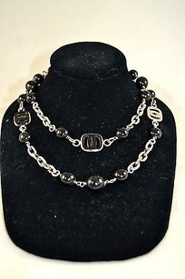 Salvatore Ferragamo Salvatore Ferragamo Silver Tone Black Bead Strand Long Necklace