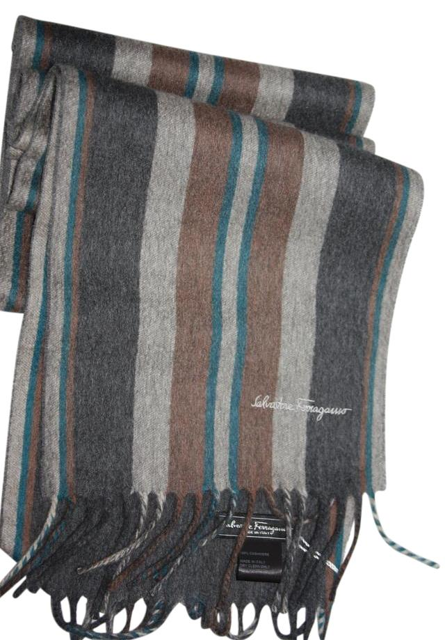burberry silk scarf outlet g2qx  Salvatore Ferragamo salvatore ferragamo Striped signature cashmere scarf  camel/blue