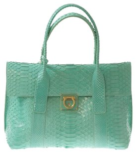 Salvatore Ferragamo Turquoise Python Tote in Teal
