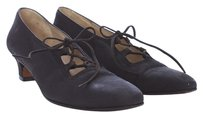 Salvatore Ferragamo Vintage Lace Up Narrow Suede BLACK Pumps