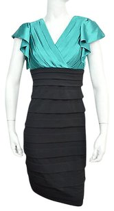 Sangria Womens Teal And Black Tiered Size Msrp Dress