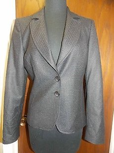 Santorelli Santorelli Black Teal Checkered Wool Two Button Classic Lined Blazer H397