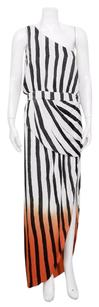 sass & bide Ladybird White Black Red Orange Off Striped Maxi 610 Dress