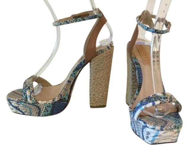 e34a93430f25 SCHUTZ Blue Off White Taupe Black Skin Platform Sky Sky Sky High Sandals  Size US 7 Regular (M
