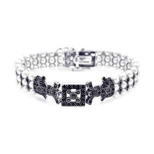 .925 Sterling Silver Rhodium Plated Pearl Marcasite & Black Cubic Zirconia Bracelet Sod