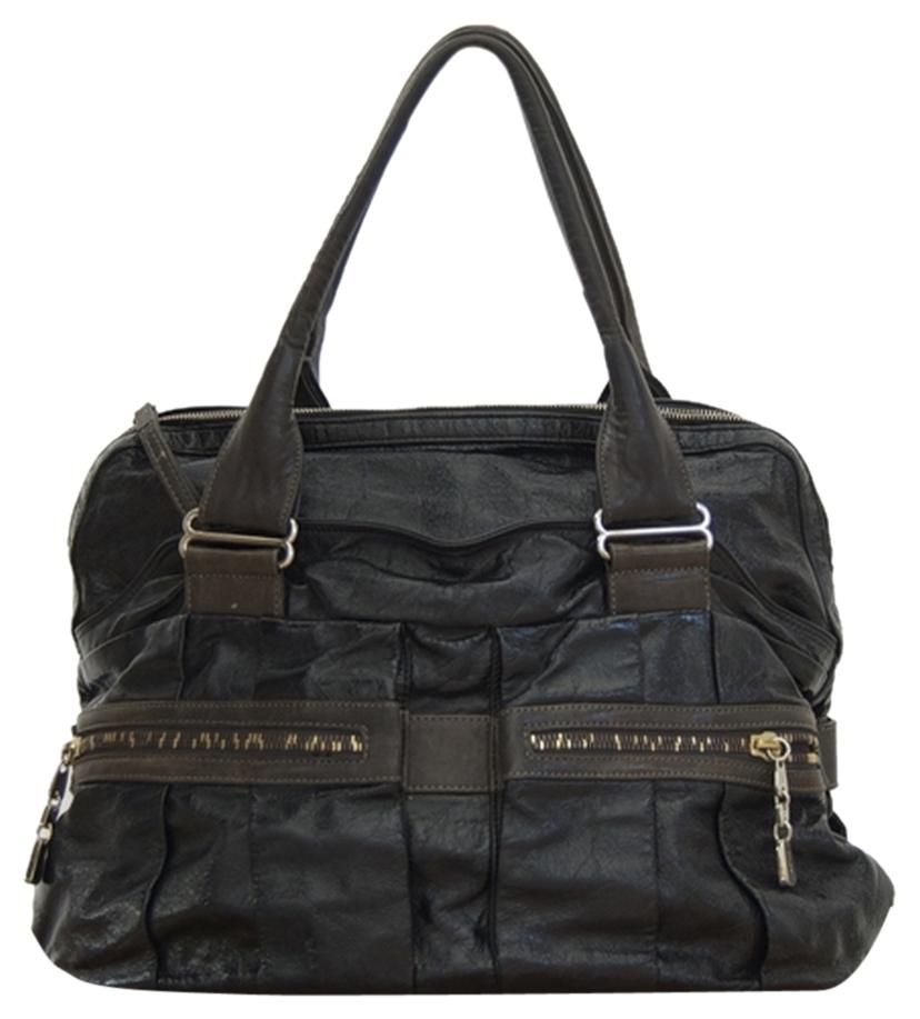 See by Chloé Black and Graphite Crinkled Patent Leather ...
