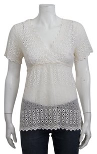 See by Chloé Chloe Ivory Sheer Silk Eyelet Embroidered Scalloped Vneck Tie 404 Top White