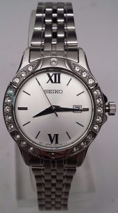 Seiko Ladies Seiko Sur865 Stainless Steel Crystal Accented Silver Dial Watch