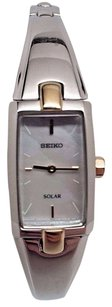 Seiko Seiko Solar Ladies Rectangular Mop Two Tone Bracelet Dress Watch Sup218