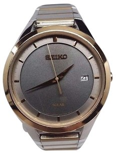 Seiko Seiko Solar Mens Charcoal Date Dial Two Tone Watch Sne242-h34 Heavy Scratches