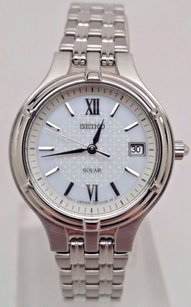 Seiko Seiko Solar Womens Stainless Steel Watch Fancy White Dial Date Sut015