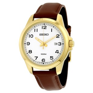 Seiko Seiko White Dial Leather Quartz Watch