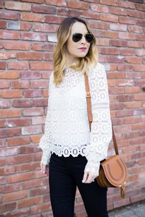 self-portrait Lace Sheer Scalloped Top White