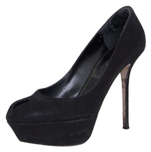 Sergio Rossi Leather Scarpe Donna Blunt Peep Toe Platform Heel 838 Black Pumps