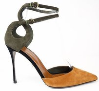 Sergio Rossi Strappy Suede Toe Dorsay Heels Army Green / Tan Pumps