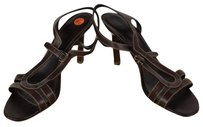 Sergio Rossi Womens Sandals Leather Strappy Heels Brown Pumps