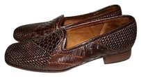 Sesto Meucci Womens N Narrow Woven Leather Loafers Italy Brown Flats