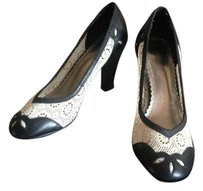 Seychelles Black Leather & White Lace Pumps