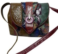 Sharif Vintage Croc Snake Reptile Leather Tapestry Usa Cross Body Bag