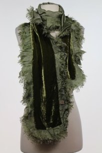 Shiraleah Shiraleah Womens Green Solid Scarf One Silk Fringe