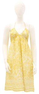Shoshanna short dress Yellow, White Floral Silk Halter Empire on Tradesy