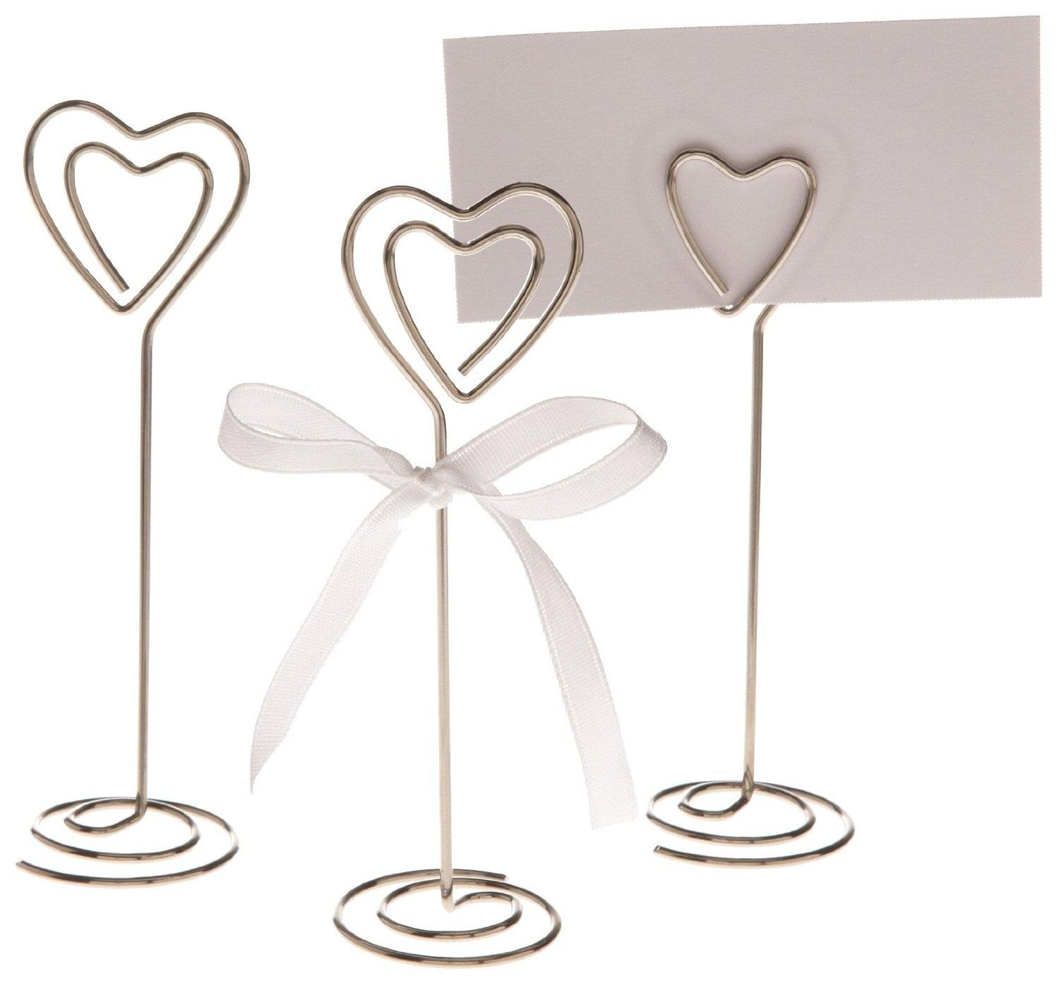 silver 12x heart shape table number holder place card holders clips