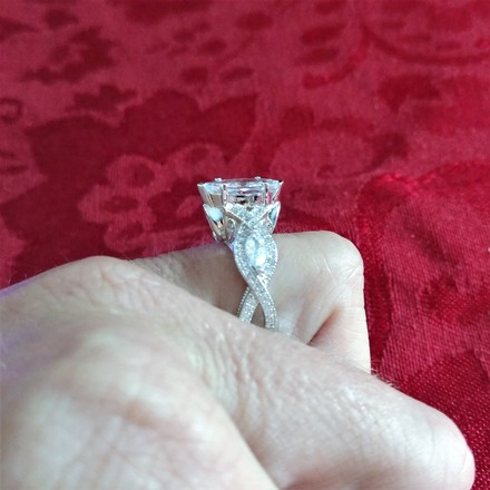 Silver 18k White Gold Plated Marquise-cut Cubic Zirconia Engagement Ring
