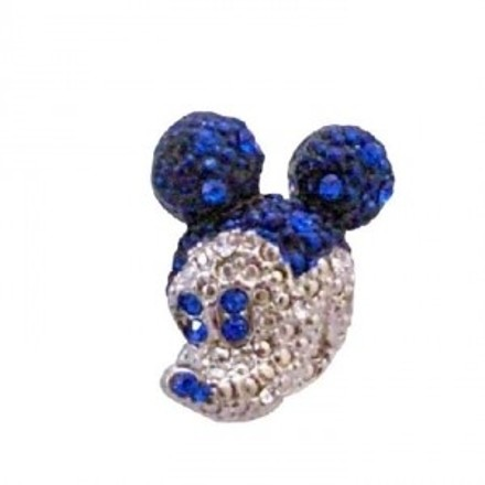 Silver Blue Sapphire Crystals Cute Mickey Mouse Sparkling Casting Brooch/Pin