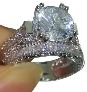 9ad9b792771 Other Silver Vintage White Gold Filled Cubic Zirconia Women s Wedding Band  Set