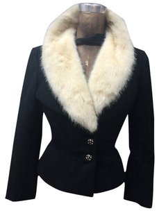 Simmonds Vintage Blazer fur collar Jacket Mink Black Blazer