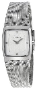 Skagen Denmark 380XSSS1 Trine Chrome Dial Stainless Steel Mesh Women's Watch