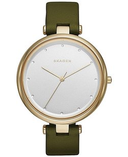 Skagen Denmark Skagen Womens Tanja Green Leather Strap Watch Skw2483 In Box