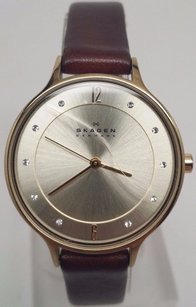 Skagen Denmark Skagen Womens Anita Skw2147 Brown Leather Leather Quartz Watch