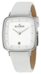 Skagen Denmark White Dial White Leather Ladies Watch
