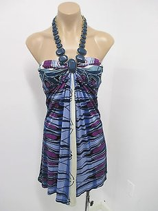 Sky Blue Halter W Stone Necklace Attached At Neck Multi-Color Halter Top