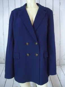Soft Surroundings Soft Surroundings Blazer Coat Navy Blue Cotton Knit Double Breasted Lined