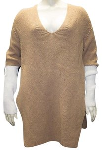 Sonia Rykiel Light Brown Camel Blend V Neck Side Slit Hs1309 Sweater