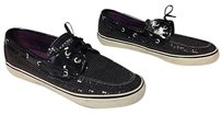 Sperry Top Sider Sequin Covered Bow Top Accented Boat B3546 Black Flats