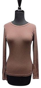 Splendid Long Sleeved Crew Neck Stretchy Solid Casual 108a Top Brown