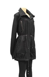 Sportmax Code Wool Knit Combo Coat 150466mm Black Jacket