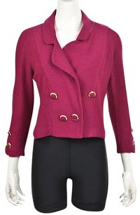 St. John Marie Gray Womens Magenta Cardigan Wool Blazer Sweater