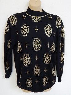 St. John Evening Santana Knit Gold Studded Usa Sweater