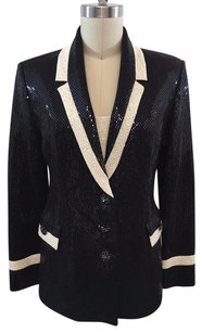 St. John Couture Black Knit Paillettes Cream Trim Beaded W Panel Black/ Cream Jacket