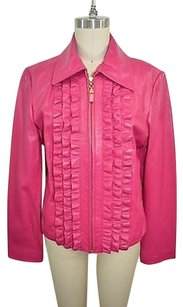 St. John Collection Hot Leather Ruffle Front Zip Down Pink Jacket